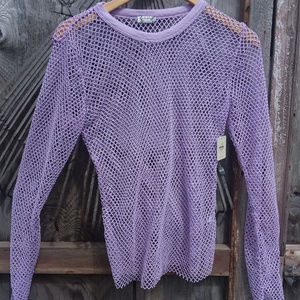 Intimately Free People Fishnet Purple Sweater NWT